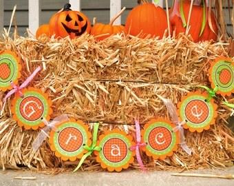 Pumpkin Birthday Banner, Baby Shower Banner - Halloween, Autumn Birthday or Baby Shower Decorations