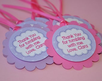 Gymnastics Party Favor Tags - Thank You Tags - Gymnastics Tumbling Birthday Party Favors - Girls Birthday Party Decorations - Set of 12