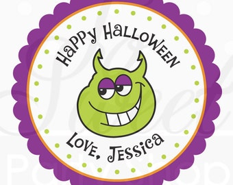 24 Halloween Personalized Stickers - Monster - Halloween Favors, Halloween Party