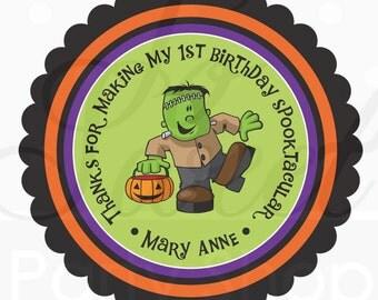 Halloween Favors Stickers Personalized - Frankenstein - Favor Sticker Labels - Halloween Decorations, Trick or Treat