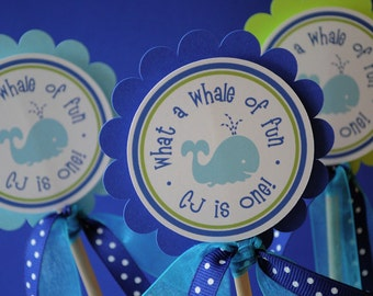 Birthday Party Centerpiece Sticks - 3 inches - Nautical, Whale, Sailboat - Set of 3