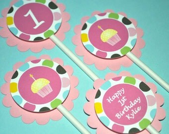 12 Birthday Cupcake Toppers Personalized - Cupcakes and Polkadots