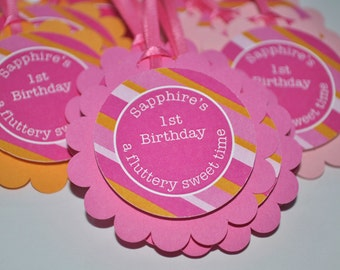 1st Birthday Favor Tags, Party Favor Tags, Girls Birthday Decorations, Thank You Tags, Party Favors, Pink and Orange Stripe - Set of 12