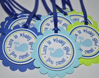 12 Birthday Party Favor Tags - Nautical, Whale, Sailboat