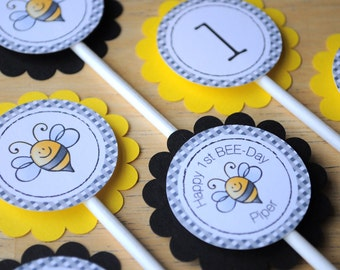 12 Birthday Cupcake Toppers - Bumble Bee Theme - Happy BEE-Day