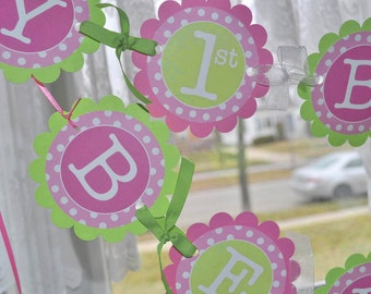 1st Birthday Banner, Girls Birthday Party Decorations, Party Banner, Personalized Party Decorations, Polkadots Pink and Lime Green