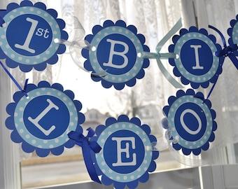 Happy 1st Birthday Banner - Birthday Banner - Boys Birthday Personalized Party Decorations - Dark Blue and Light Blue Polkadot