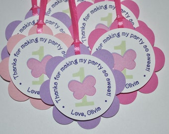 12 Birthday Party Favor Tags - Flowers and Butterflies - Pinks and Purples