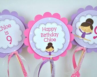 Gymnastics Birthday Centerpiece Sticks - Girls Birthday Party Decorations - Party Centerpieces - Gymnastics Tumbling Birthday - Set of 3