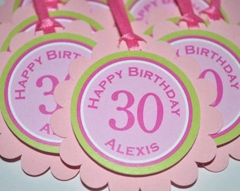 30th Birthday Party Favor Tags, Girls Party Favors, Thank You Tags, Personalized Party Decorations, 40th Birthday - Set of 12