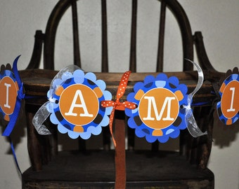 Boys 1st Birthday Highchair Banner - Blue, Orange and Brown Polkadots - Personalized - Boys Birthday Party Decorations