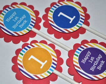 Rainbow Birthday Cupcake Toppers - Rainbow Birthday Party - Rainbow Stripes Birthday Decorations - Set of 12
