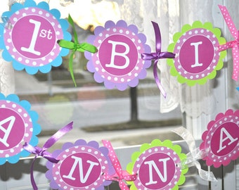 1st Birthday Banner, Girls Birthday Party Decorations, Party Banner, Personalized Birthday Banner - Pink, Teal, Purple, Lime Green Polkadots