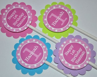 Cupcake Toppers 1st Birthday, Girls Birthday Decorations, Cupcake Picks, Pink, Lime Green, Blue, Purple and White Polkadots - Set of 12