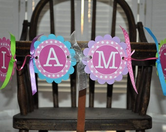 Highchair Banner, 1st Birthday Banner, I am One Banner, Photo Prop Banner, Polkadots Pink, Lime Green, Teal and Purple