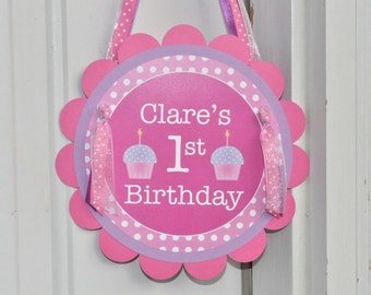 Girls 1st Birthday Party Door Sign, Birthday Sign, Welcome Party Sign, Birthday Decorations - Polkadots Pink - Lavender with Cupcakes