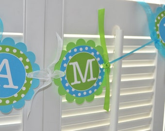 Highchair Banner - 1st Birthday Banner - Bright Pool Blue, Bright Green and White Polkadots
