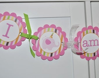 Highchair Banner - 1st Birthday Banner - I am 1 Banner - Elephant and Giraffe Stripes