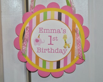 Girl's 1st Birthday Door Sign - Elephant and Giraffe Stripes