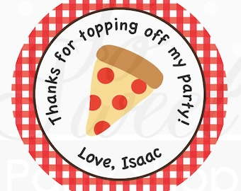 24 Birthday Favor Sticker Labels - Pizza Party