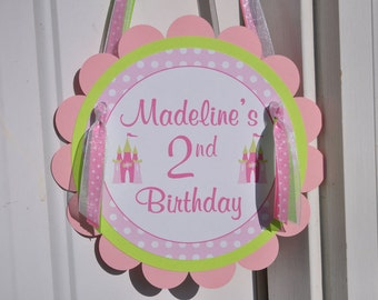 Girl's Princess Birthday Party Door Sign - Dark Pink, Light Pink and Lime Green