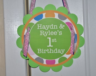 Birthday Party Door Sign - Colorful Polkadots - Blue, Pink, Orange and Green - Birthday Party Decorations