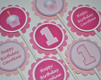 1st Birthday Cupcake Toppers, Girls Birthday Party Cupcake Toppers, Party Decorations, Cupcake Theme Birthday Pink and Purple - Set of 12