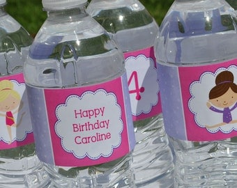 Gymnastics Tumbling Birthday Party Water Bottle Labels, Personalized Party, Girls Birthday Decorations, Party Supplies - Set of 10