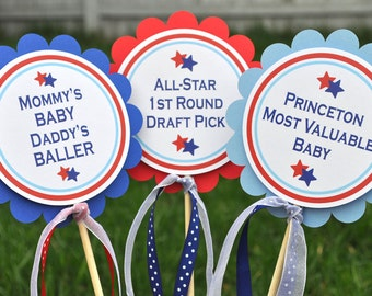 3 Centerpiece Sticks - Boys Baby Shower or Birthday - Sports All Star Theme - Red, White and Blue