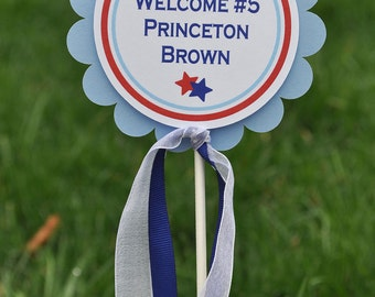 Cake Topper Boys Baby Shower or Birthday - Sports All Star Theme - Red, White and Blue