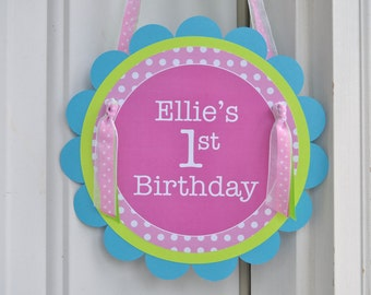1st Birthday Party Door Sign, Girls Birthday Party Decorations, Welcome Party Sign, Polkadots Pink, Lime Green, Teal and Purple