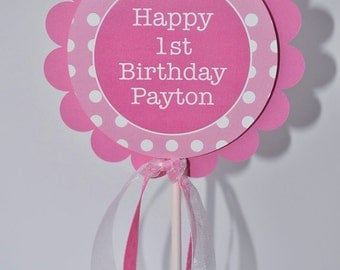 1st Birthday Cake Topper - Polkadots Pink and White - Personalized with Name