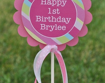 Girl's 1st Birthday Cake Topper - Personalized - Girls Birthday Party Decorations