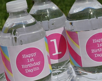 10 Personalized Water Bottle Labels - Girls Birthday Party Decorations - Pink, Blue, Green and Yellow Stripe