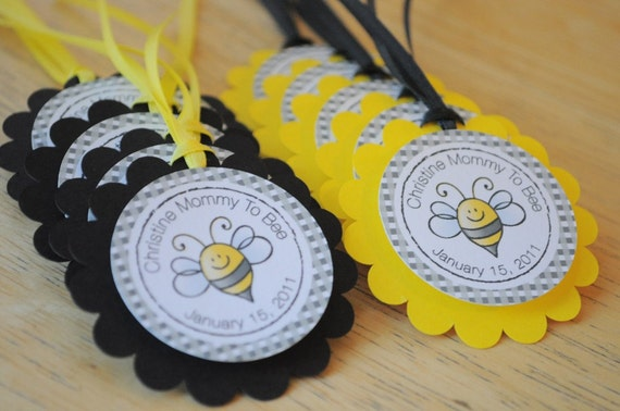 12 Baby Shower Favor Tags Bumble Bee Baby by sosweetpartyshop