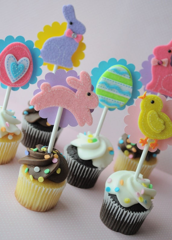 12 Easter Cupcake Toppers - Spring Birthday Party - Limited Edition