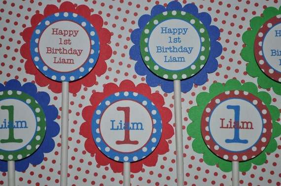 12 Birthday Cupcake Toppers - Red, Blue and Green Polkadots - Personalized - Boys Birthday Party Decorations