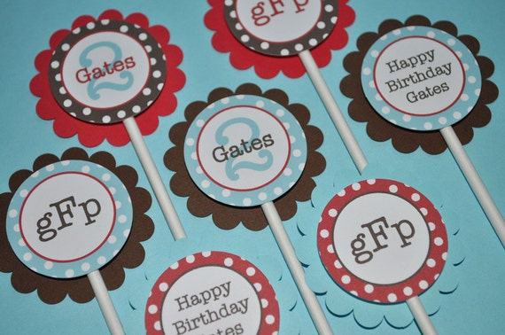 Boys Birthday Cupcake Toppers 1st 2nd Red