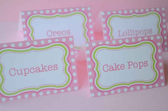 Food Labels or Placecards - Polkadots Pink and Lime Green - Girls 1st Birthday - Girls Baby Shower - Personalized and Printed - Set of 12