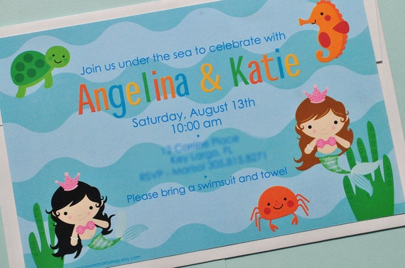 Under The Sea Birthday Invitations - Pool Party Invitations - Mermaids, Sea Creatures - Set of 12