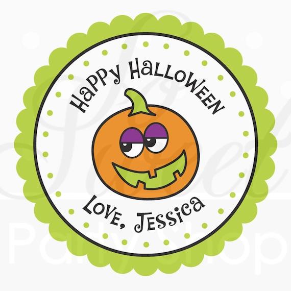 24 Halloween Personalized Stickers - Pumpkin - Halloween Favors, Halloween Party