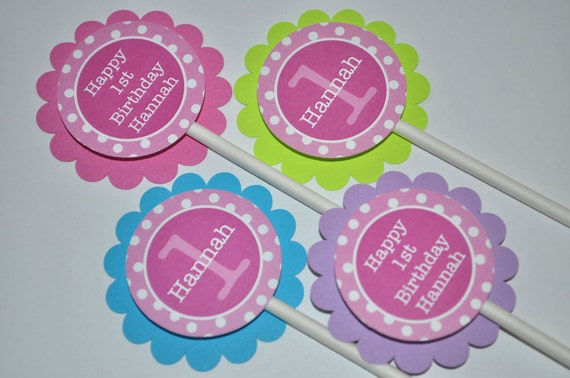 Cupcake Toppers 1st Birthday - Girls Birthday Decorations - Pink, Lime Green, Blue, Purple and White Polkadots - Set of 12