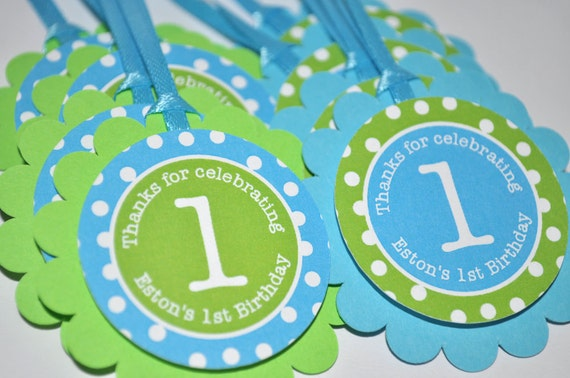12 Boy's Birthday Party Favor Tags - Bright Pool Blue, Bright Green and White Polkadots - Personalized