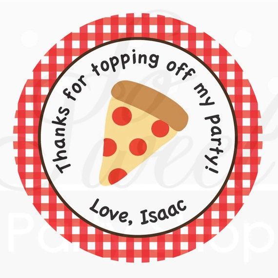 Pizza Party Birthday Favor Stickers Favors