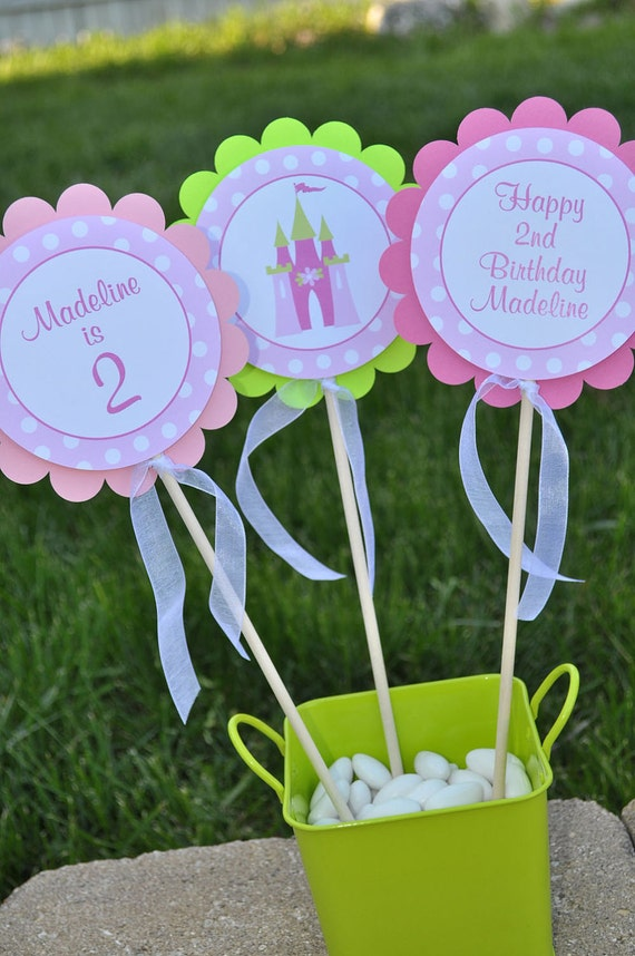 Princess Centerpiece Sticks - Princess Birthday Decorations - Girl Birthday Party Decorations - Princess Centerpieces - Set of 3