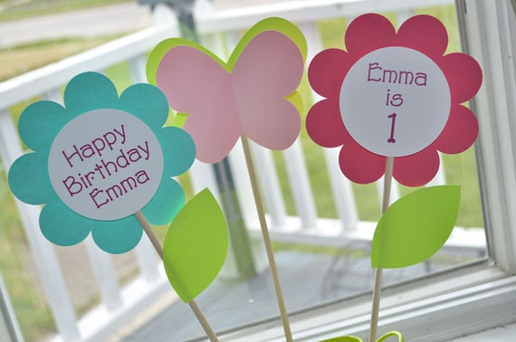 Birthday Centerpiece Sticks - Flowers and Butterflies - Personalized - Pink, Blue, Green - Set of 3