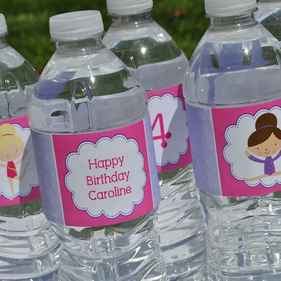 Personalized Water Bottle Labels - Gymnastics Tumbling Birthday Party Decorations - Girls Birthday Decorations - Party Supplies - Set of 10
