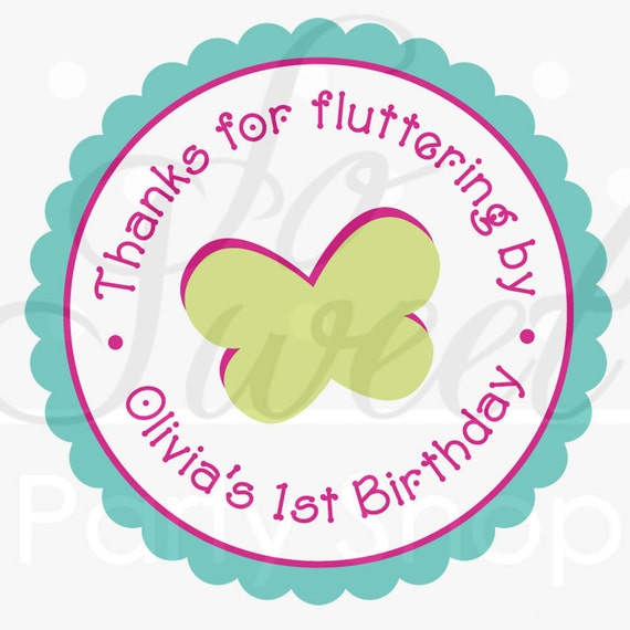 24 Girls Birthday Favor Sticker Labels - Flowers and Butterflies - Pink, Blue, Green