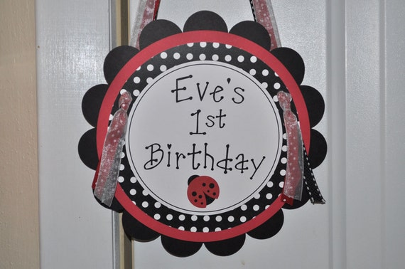 Baby Shower or Birthday Party Door Sign - Ladybug Theme - Personalized Party Decorations