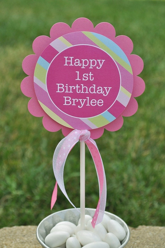 Girl s 1st Birthday Cake Topper - Personalized - Girls ...